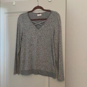 Cupio grey crisscross sweater top large